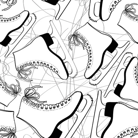 ice skating: Doodle seamless pattern of skates on an ice rink background