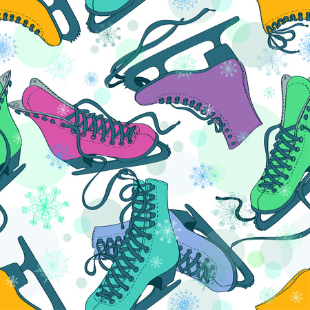 Seamless pattern of colorful skates on a snowflake patterned background