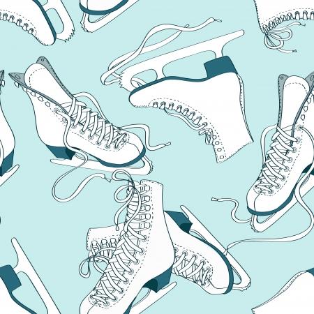 Doodle naadloze patroon van schaatsen op een ijsbaan achtergrond