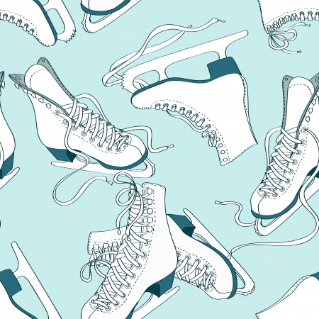 figure skates: Doodle seamless pattern of skates on an ice rink background