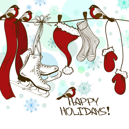 drying: Winter illustration or card with hanging skates and drying Santas clothes on the rope