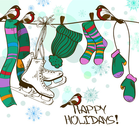 Winter illustration or card with hanging skates and drying clothes on a rope Vector