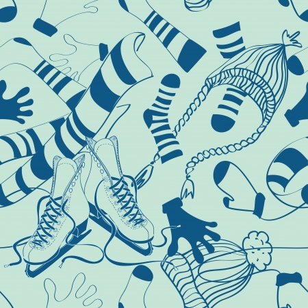 knitted fabrics: Doodle seamless pattern of winter clothes and skates