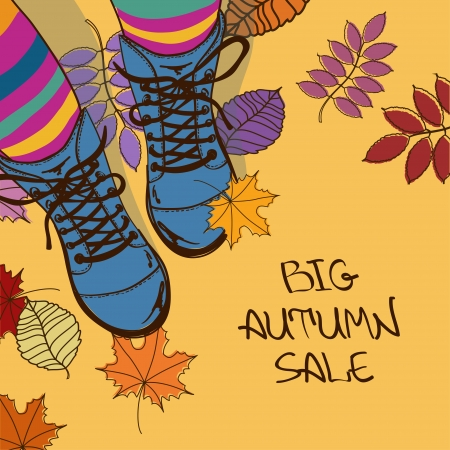 girls feet: Colorful autumn sale illustration with girls feet in striped tights and boots