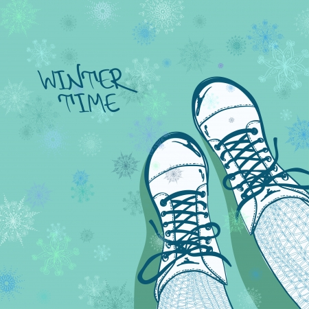 legs stockings: Winter illustration with girls feet in tights and boots on a snowflake patterned background Illustration