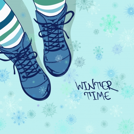Winter illustration with girls feet in striped tights and boots on a snowflake patterned background Vector
