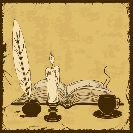 writting: Vintage illustration with old writting attributes and book