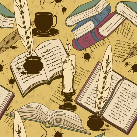 quill pen: Vintage seamless pattern of writting attributes and books Illustration
