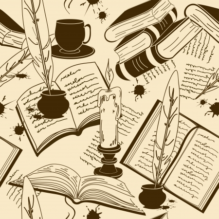 old school: Vintage seamless pattern of writting attributes and books Illustration