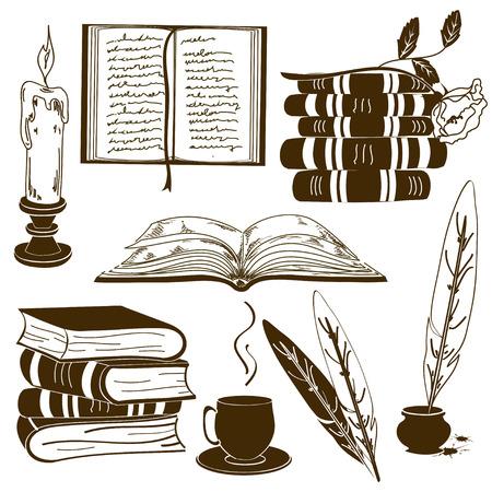 napsat: Sada izolovaných knihy ikon a historických atributů psaní