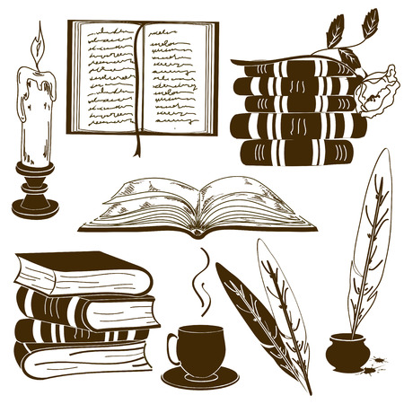 quill pen: Set of isolated book icons and vintage writting attributes