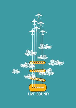 planos electricos: Ilustraci�n musical con la guitarra concepto y aviones en el cielo