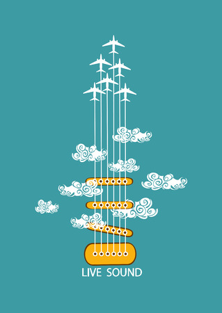 Musical illustration with concept guitar and airplanes in the sky Vector