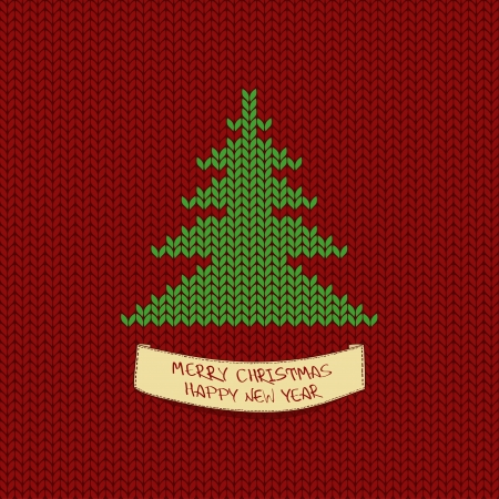 Christmas and New Year knitting card with tree and greeting label Vector