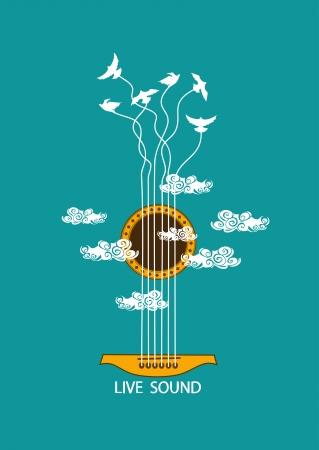 guitarra acustica: Ilustración concepto musical con la guitarra y los pájaros en el cielo