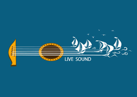 Musical illustration with concept guitar and sailing ships Vector
