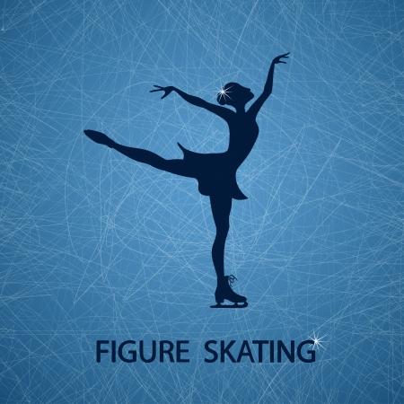 Illustratie met kunstschaatsster op een ijsbaan geweven achtergrond