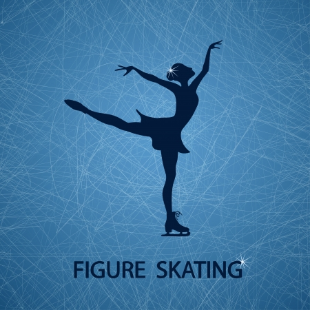 figure skates: Illustration with figure skater on a ice rink textured background