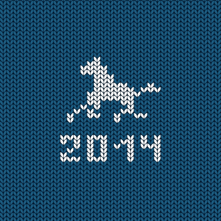 Illustration with symbol of New Year horse on a knitting background Vector