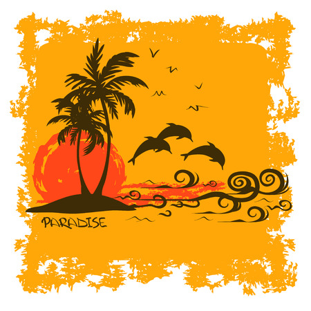 Summer illustration with tropical island, dolphins and ocean Vector