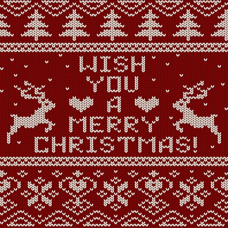 Scandinavian knitted seamless pattern with deers and text wish you a Merry Christmas Vector