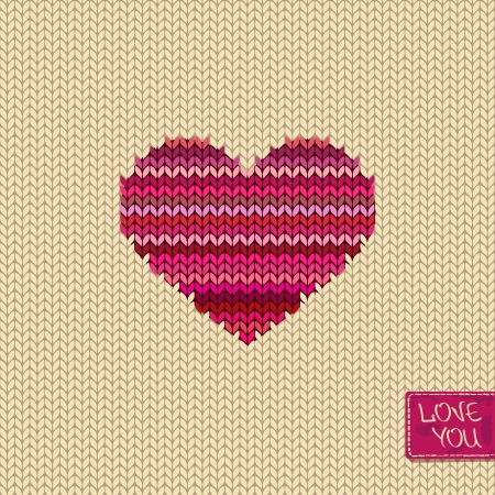 Knitted seamless pattern or card with melange heart and greeting tag