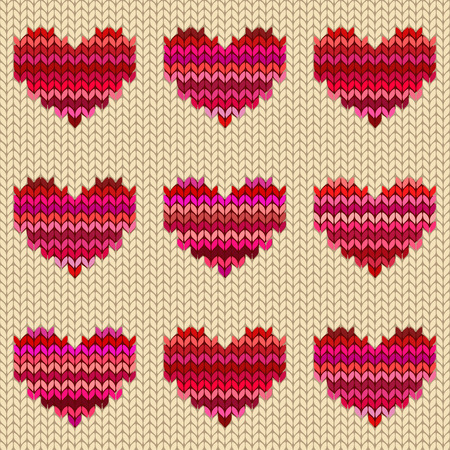 Seamless knitted pattern with melange hearts Vector