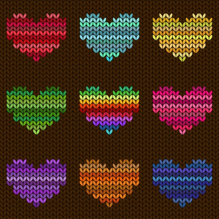 Seamless knitted pattern with colorful melange hearts Vector