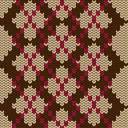 Knitted seamless pattern with beige rhombus Vector