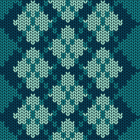 Knitted seamless pattern with blue rhombus Vector