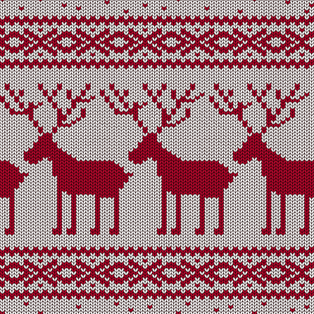 Scandinavian knitted seamless pattern with deers Vector