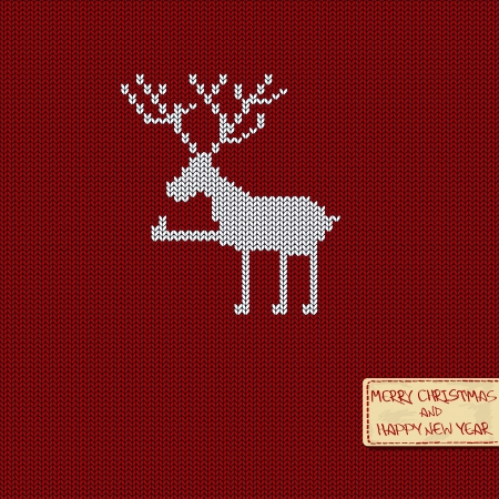Christmas and New Year knitted pattern card with funny deer Vector