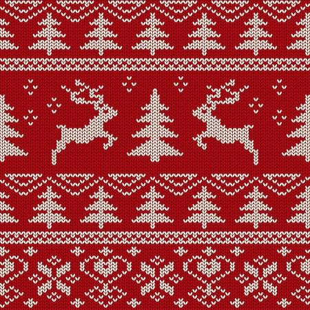 鹿と北欧のニット シームレスなパターン  イラスト・ベクター素材