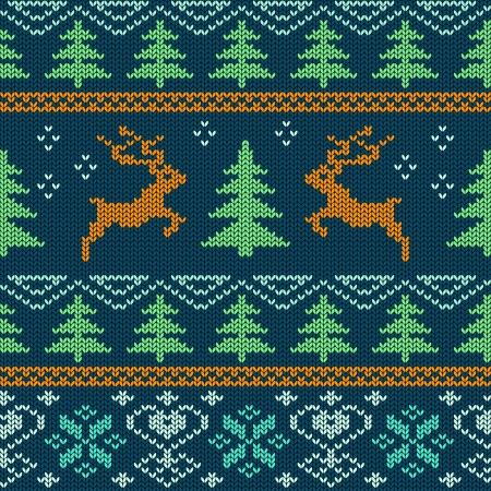 orange tree: Scandinavian knitted seamless pattern with deers Illustration