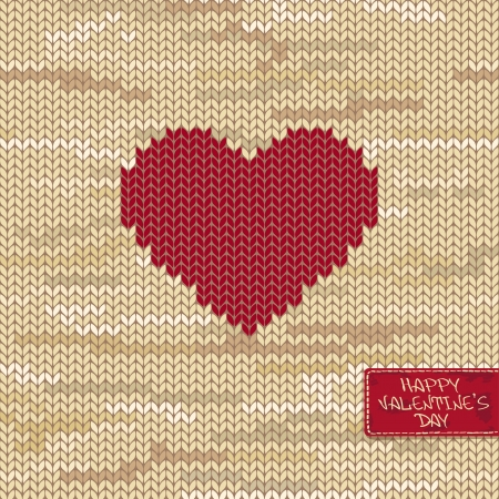 Valentines knitted seamless pattern or card with heart on a melange background and greeting tag Vector