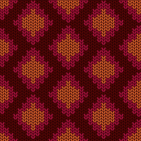 knitted fabrics: Ethnic knitted seamless pattern with rhombus