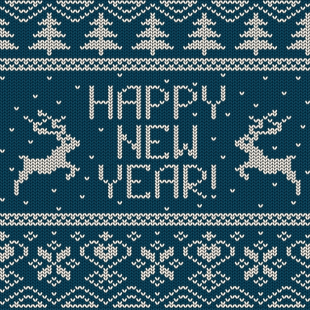 Scandinavian knitted seamless pattern with deers and text happy New Year Vector