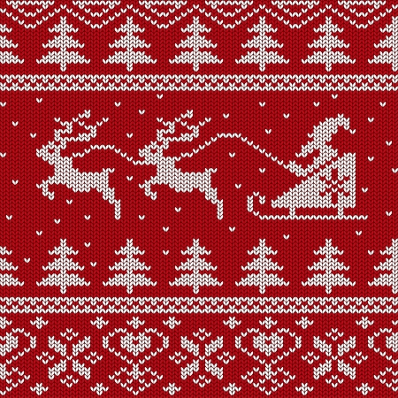 Christmas and New Year knitted seamless pattern or card with Santa in sleigh and deers Vector