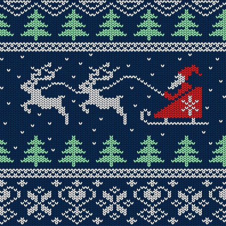Christmas and New Year knitted seamless pattern or card with Santa in sleigh and deers Illustration