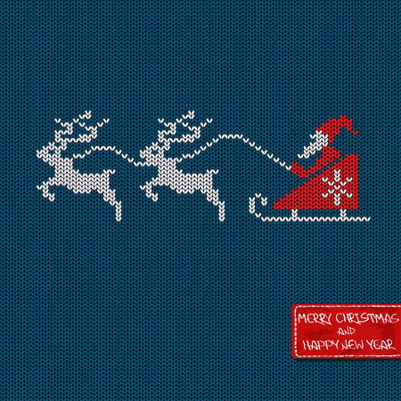 knitted background: Christmas and New Year knitted pattern card with Santa in sleigh, deers and greeting tag Illustration