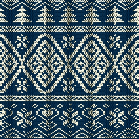 Scandinavian knitted seamless pattern with snowflakes and trees Illustration