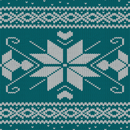 Scandinavian knitted seamless pattern with snowflakes Vector