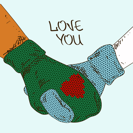 hands in: Illustration with close up holding hands couple in knitted mittens