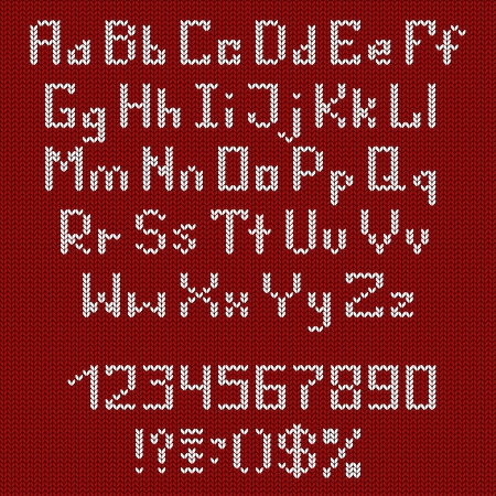 Set of white knitted alphabet, numbers and punctuation marks on a red background Vector