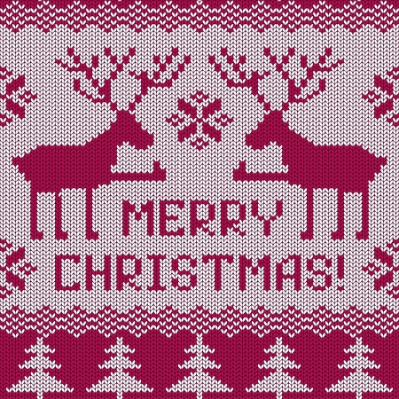 Scandinavian knitted seamless pattern with deers and text Merry Christmas Vector