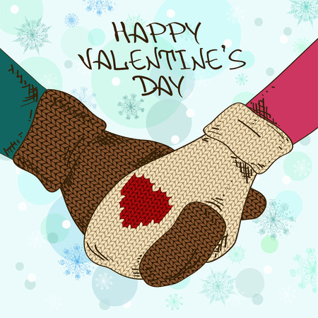 Illustration with close up holding hands couple in knitted mittens Vector