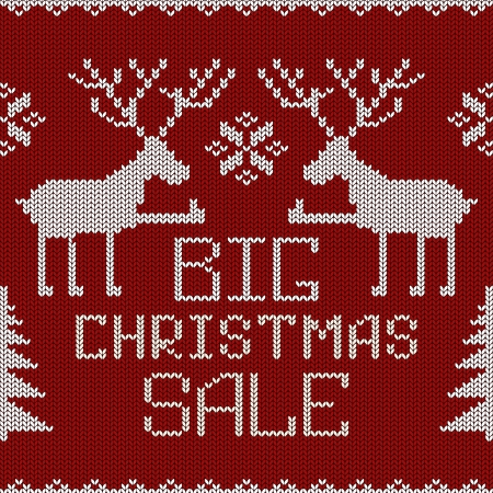 scandinavian christmas: Christmas sale knitted seamless pattern or background with funny deers