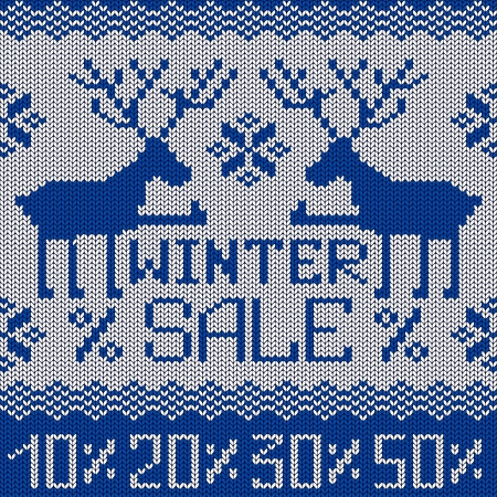 Winter sale knitted seamless pattern or background with funny deers Vector