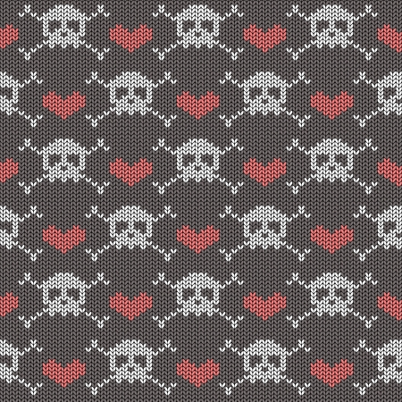 skull and crossbones: Knitted seamless pattern with skulls, crossbones and hearts