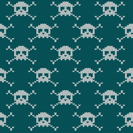 Knitted seamless pattern with skulls and crossbones  Vector